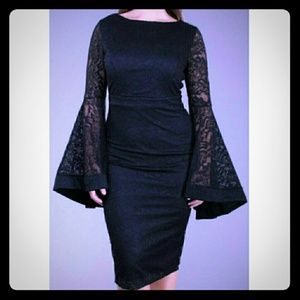 WITCHY NWT 3XL BLACK LACE SHEER BELL SLEEVE DRESS